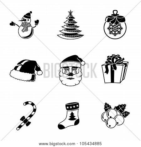 Set of CHRISTMAS icons - snowman, tree, sock, hat, Santa, candy, present, bauble, mistletoe. Vector
