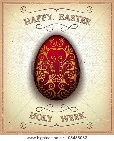 Vintage happy easter and holy week card