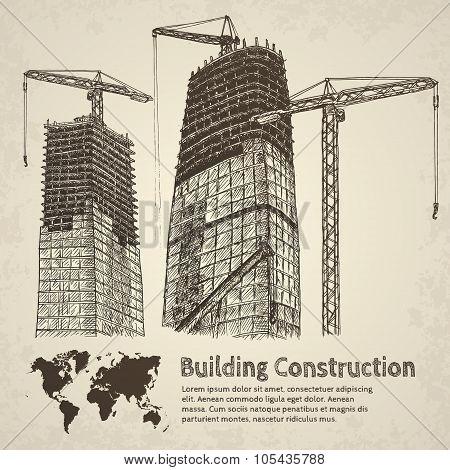 Building construction sketch.