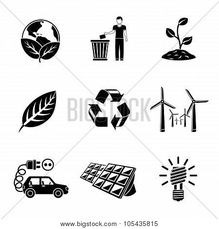 Set of ECOLOGY icons with - recycle sign, green earth, leaf, garbage disposal, wind power, plant, so