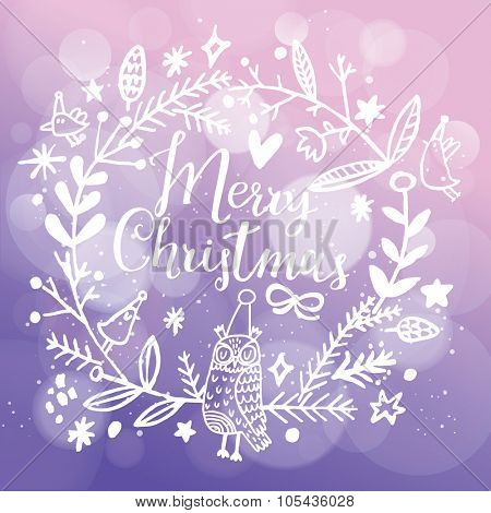 Fantastic Merry Christmas card in vector. Stylish Merry Christmas text in lovely floral wreath with birds and sweet owl on bright bokeh background in violet colors