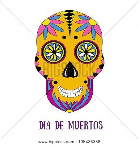 Day of The Dead sugar skull with floral ornament. Vector print. Dia de muertos - mexican holiday.