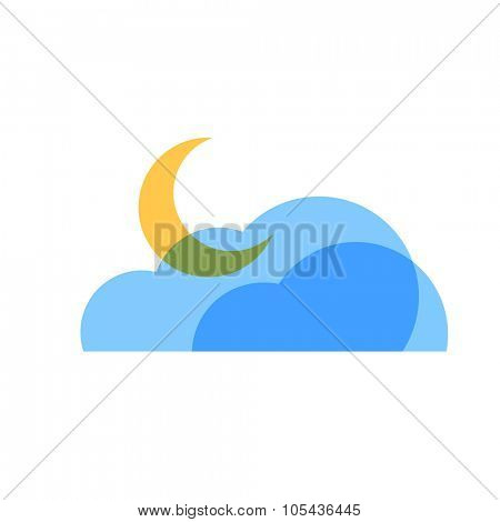 Partly Cloudy Night Weather Icon. Blue transparent clouds with yellow moon icon.
