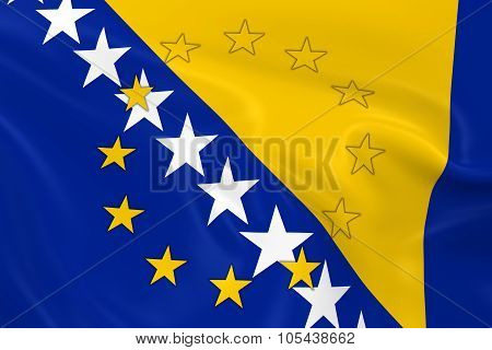 Bosnia And Herzegovina Potential Eu Member Concept Image - 3D Render Of A Waving Bosnian And Herzego