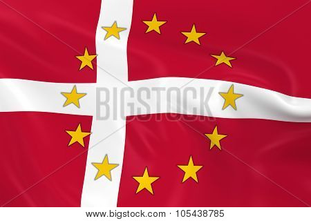 Denmark Eu Member Concept Image - 3D Render Of A Waving Danish Flag With European Union Stars
