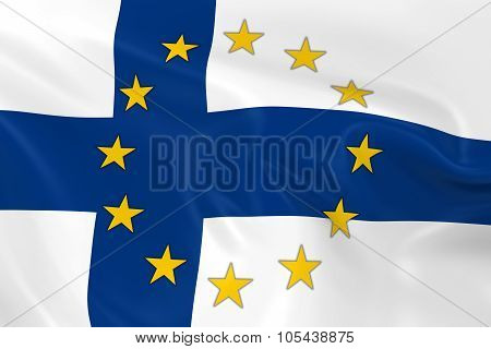 Finland Eu Member Concept Image - 3D Render Of A Waving Finnish Flag With European Union Stars