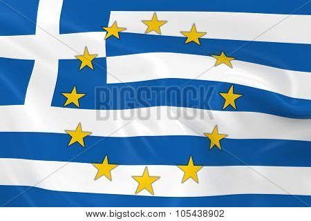 Greece Eu Member Concept Image - 3D Render Of A Waving Greek Flag With European Union Stars