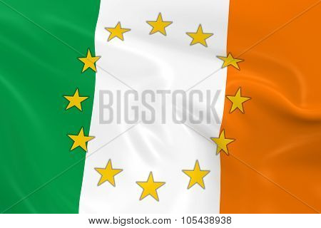 Ireland Eu Member Concept Image - 3D Render Of A Waving Irish Flag With European Union Stars
