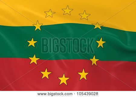 Lithuania Eu Member Concept Image - 3D Render Of A Waving Lithuanian Flag With European Union Stars