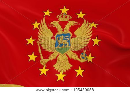 Montenegro Potential Eu Member Concept Image - 3D Render Of A Waving Montenegrin Flag With European