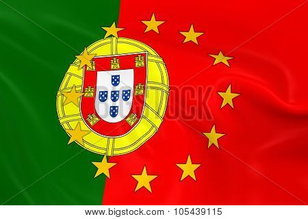 Portugal Eu Member Concept Image - 3D Render Of A Waving Portuguese Flag With European Union Stars