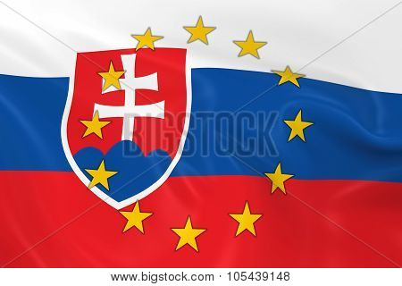 Slovakia Eu Member Concept Image - 3D Render Of A Waving Slovakian Flag With European Union Stars