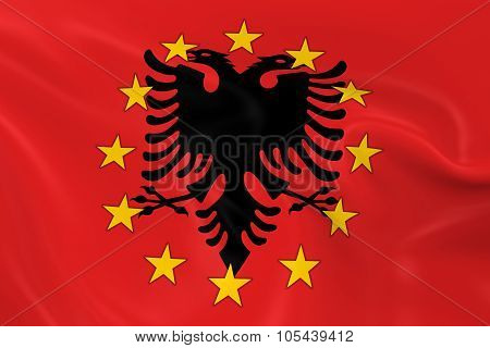 Albania Potential Eu Member Concept Image - 3D Render Of A Waving Albanian Flag With European Union