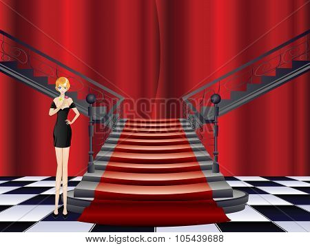 Girl Stands Near Stairs