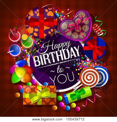 Birthday card with gift boxes, cocktails, lollipops, box of chocolates and confetti. Vector.