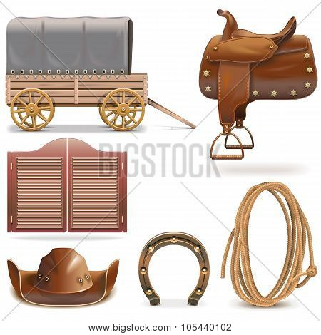 Vector Cowboy Icons Set 2