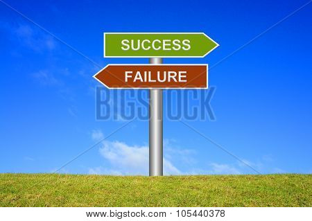 Signpost Showing Success Or Failure