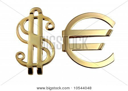 Metallic Sign Euro And Dollar