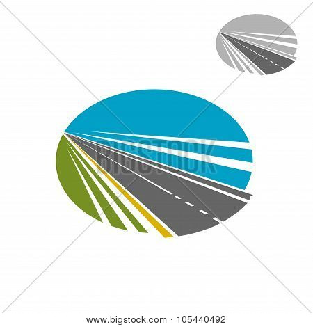 Long road or highway and blue sky icon