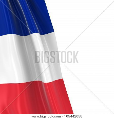 Hanging Flag Of France - 3D Render Of The French Flag Draped Over White Background With Copyspace Fo