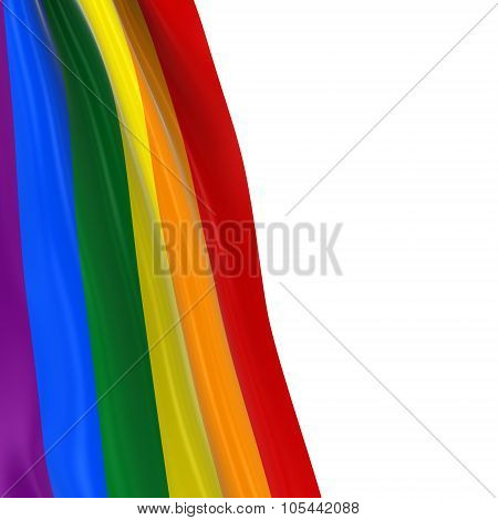 Hanging Rainbow Flag - 3D Render Of The Gay Pride Rainbow Flag Draped Over White Background With Cop