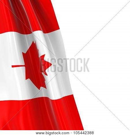 Hanging Flag Of Canada - 3D Render Of The Canadian Flag Draped Over White Background With Copyspace