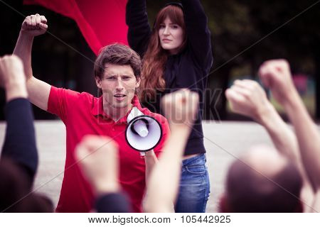 Young Rebellious Man With Megaphone