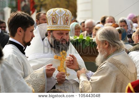 Orel, Russia - September 13, 2015: Orthodox Church Family Day. Divine Service In Russian Orthodox Ch