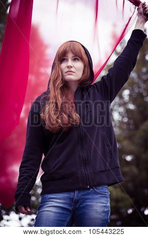 Rebellious Woman With Red Flag