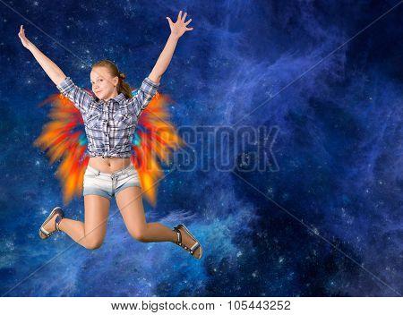 Cute teen girl jumping