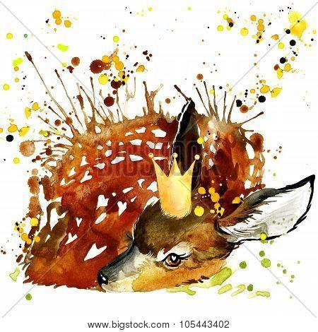 Prince Deer T-shirt Graphics, Deer Illustration With Splash Watercolor Textured Background. Illustra