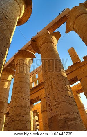 LUXOR, EGYPT - DECEMBER 05, 2014: Columns in Karnak temple with ancient egypt hieroglyphics