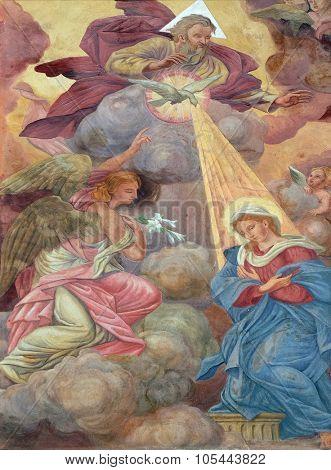 LJUBLJANA, SLOVENIA - JUNE 30: Annunciation of the Virgin Mary fresco on the facade of St Nicholas Cathedral in the capital city of Ljubljana, Slovenia on June 30, 2015