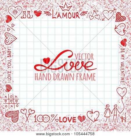 Hand drawn frame from love elements and cute hearts
