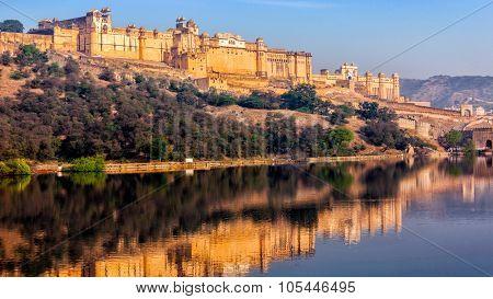 Panorama of famous Rajasthan indian landmark - Amer (Amber) fort, Jaipur, Rajasthan, India