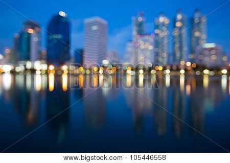 Abstract blurred bokeh lights, waterfront of city downtown