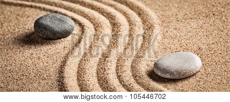 Japanese Zen stone garden - relaxation, meditation, simplicity and balance concept  - letterbox panorama of pebbles and raked sand tranquil calm scene
