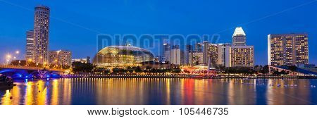 Panorama of Singapore cityscape skyline night view