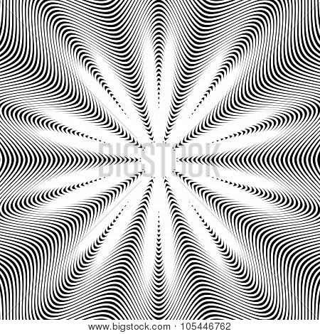 Black And White Moire Lines, Vector Striped  Psychedelic Background.  Op Art Style Contrast Pattern.