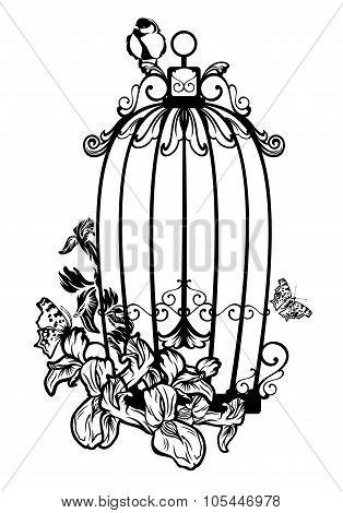 Bird Cage Among Flowers