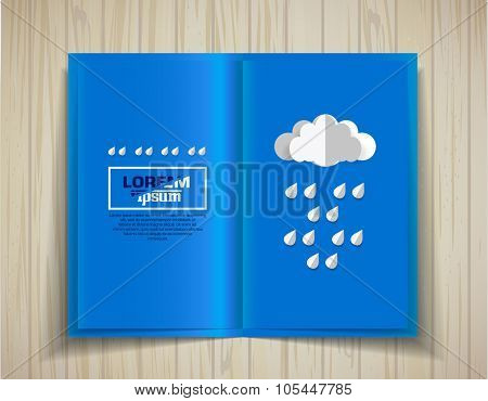 Vector blank. Open brochure on a wooden texture. Template for design
