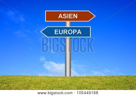 Signpost Europe Or Asia