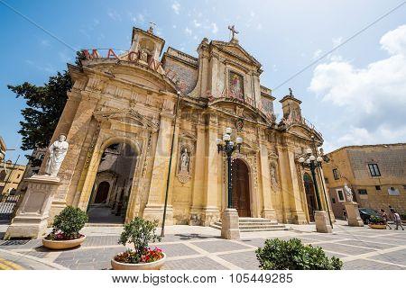 Mdina, Malta - 26 May, 2015: Grotto and Parish Church of St.Paul on Rabat near Mdina in Malta