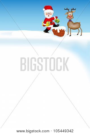 Santa Claus with a reindeer on the roof