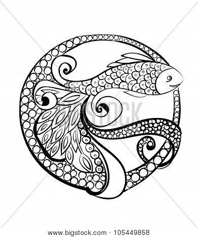 Logo Doodle fish. Hand drawn  illustration
