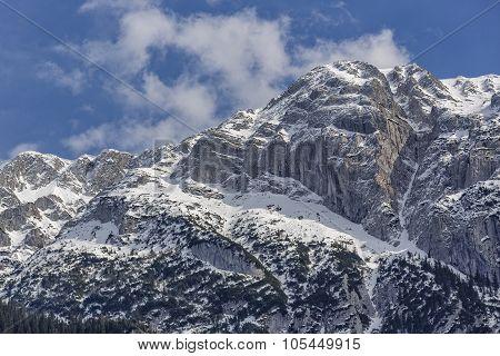 Snowy Steep Mountain Ridge