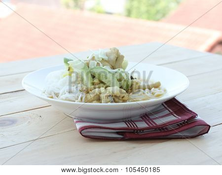 Liquid Chicken Noodles On The Table