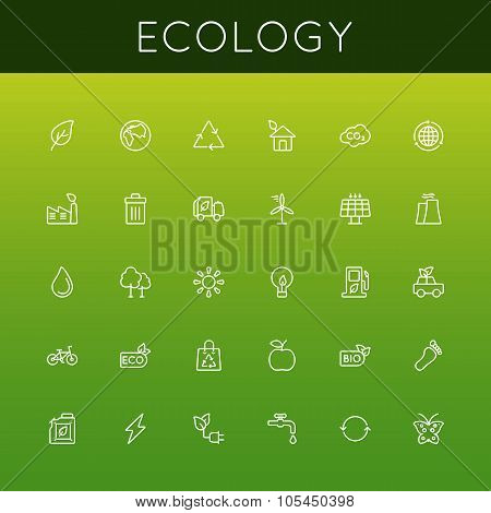 Vector Ecology Line Icons