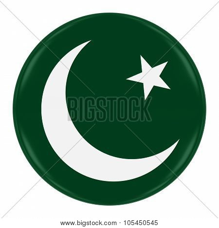 Pakistan Flag Badge - Flag Of Pakistani Button Isolated On White
