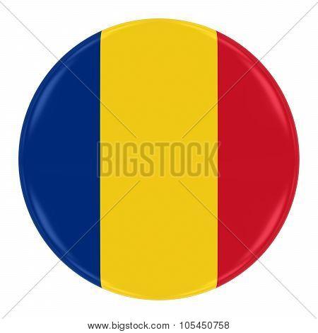 Romanian Flag Badge - Flag Of Romania Button Isolated On White